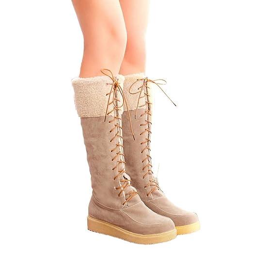 SamMoSon Botas Mujer Invierno Altas Negras Tacon Marrones,Zapatos Planos De Gamuza con Cordones Y Punta Redonda De Mujer Mantener Cálidas Botas De Nieve De ...