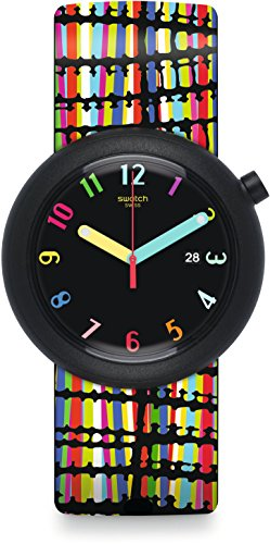 Swatch New POP Crazypop Black Dial Silicone Strap Unisex Watch PNB400