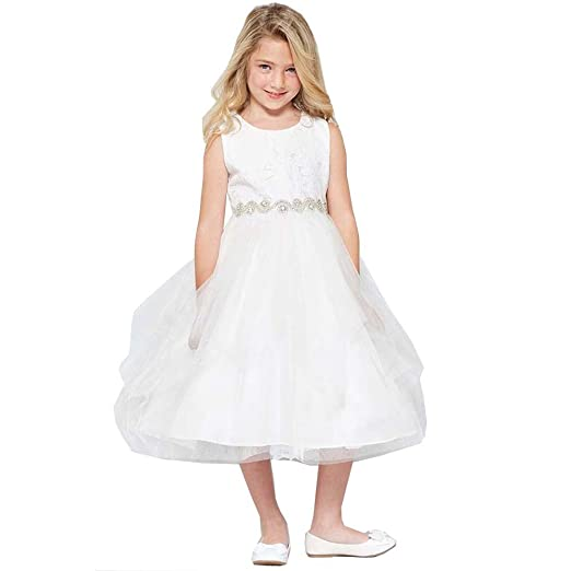 f46640fa9 Good Girl Big Girls White Lace Tulle Double Layer Junior Bridesmaid Dress 8