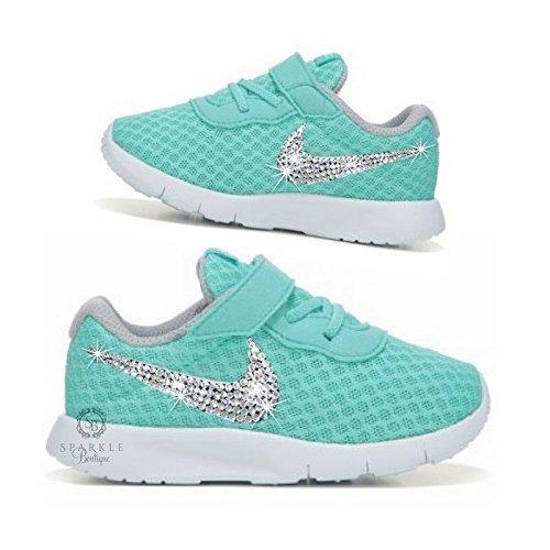 Swarovski TODDLER Nike Tanjun - Bling Nike - Nike for Kids - Girls Nike - Teal Color - Custom - Choose Your Crystal - SparkleBoutique2U (Tiffany Nike)
