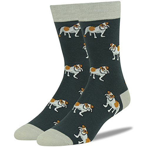 SUTTOS Men's Boy's Crazy Fashion Cartoon Bulldog Fun Patterned Charged Cotton Soft Warm Mid Calf Long Tube Casual Work Socks,Christmas Valentine Gifts,2 Pairs
