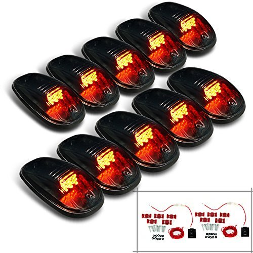 10 Pc. Set Smoked Lens Yellow Amber Led Cab Roof Top Running Lights ()
