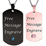 NEHZUS Stainless Steel Plain Dog Tag Pendant Necklace for Couples(Free Engraving) (Black&Rose Gold)