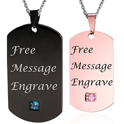 NEHZUS Stainless Steel Plain Dog Tag Pendant Necklace for Couples(Free Engraving) (Black&Rose Gold) by NEHZUS