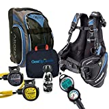 Cressi Travelight 15 LBS Scuba Diving Package Carry On Reg Dive Computer 7 Blue-Reg-Bag Kraken Dive Torch Men-L