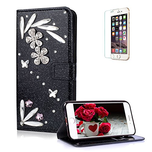 Funyye 3D Bling Flower Diamond Wallet Leather Case for iPhone 7 Plus/8 Plus,Black Premium Glitter Crystal Shiny Rhinestone PU Leather Case,Magnetic Flip with Stand Credit Card Holder Slots Case