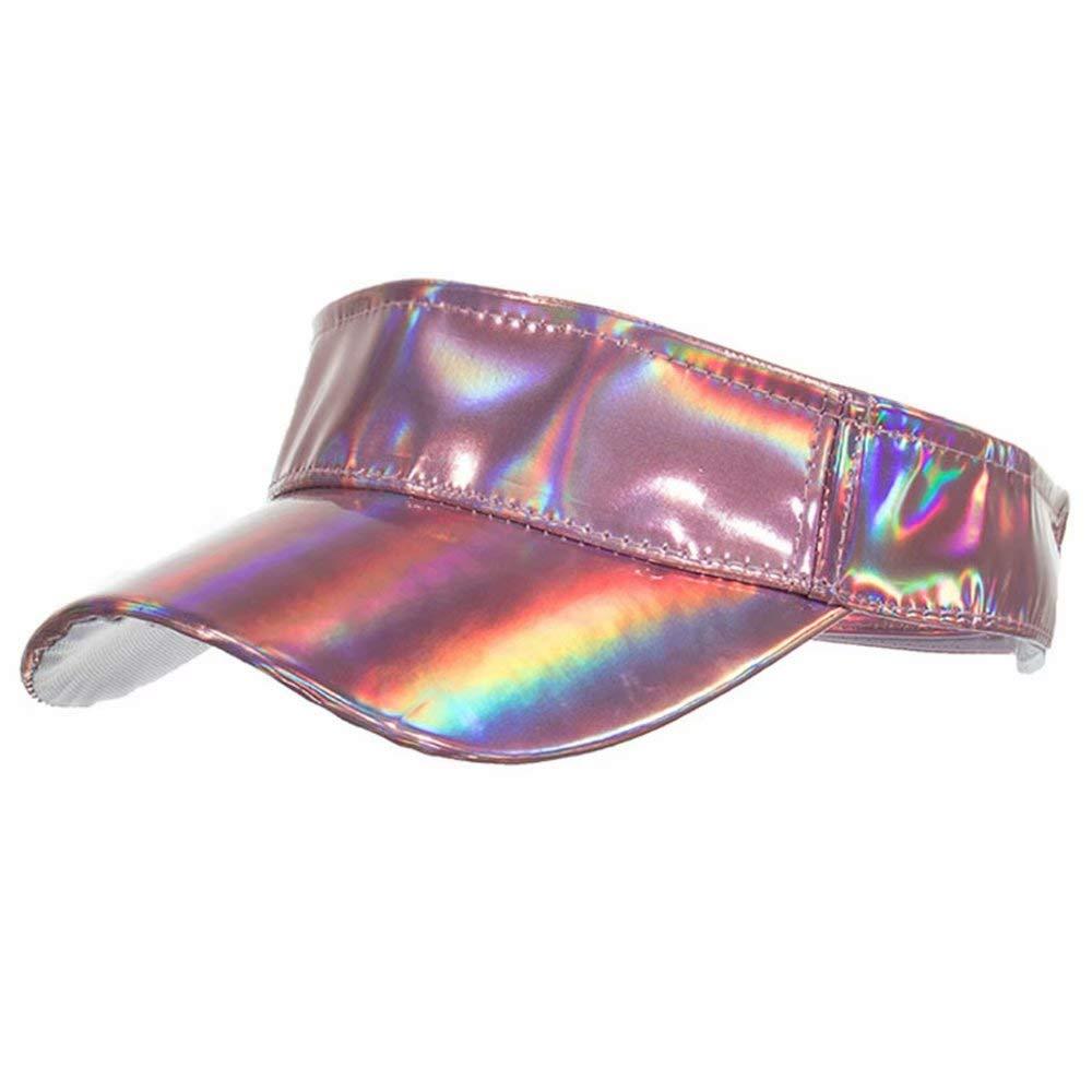 Shiny Holographic Plain Sport Sun Visor Laser Leather Adjustable Summer Cap (Pink)