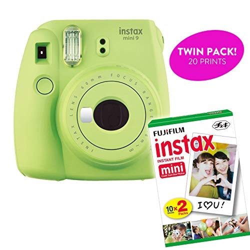 Fujifilm Instax Mini 9 Instant Print Camera (Renewed) Plus Twin Pack Film Starter Bundle | 10 Sheets x 2 = 20 White Frame Instant Exposure Photograph Sheets (Lime Green)
