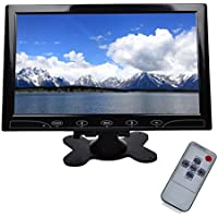 TOGUARD 10.1 inch Ultrathin Color Security CCTV Monitor 1024*600 Resolution Touch Buttons Video and Audio LED Display Screen with Remote Control AV/VGA/HDMI Input