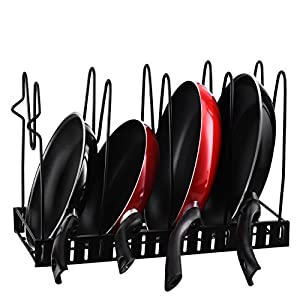 OMorc Pan Organizer, Pot Lid Rack Cookware Holders with Adjustable Dividers for Kitchen, Countertop, Cabinet, and Pantry