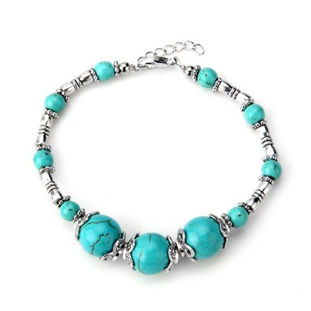 SODIAL(R) Tibet Silver Turquoise Beads Lobster Clasp Bracelet Chain HOT
