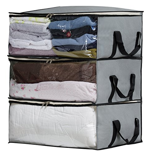 Collapsible Storage Bags - SLEEPING LAMB Foldable Comforter Storage Bag Organizers Underbed Storage Containers for Blankets, Clothes, Bedding, Closets, Under Bed, 3 Piece Set