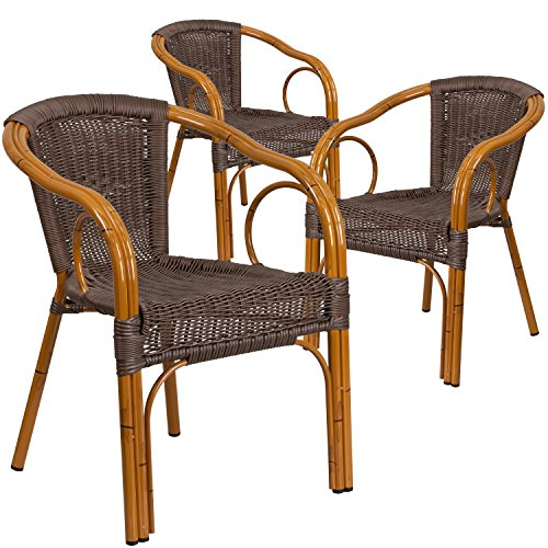Flash Furniture 3 Pk. Cadiz Series Dark Brown Rattan Restaurant Patio Chair with Red Bamboo-Aluminum Frame (Dining Chair Back Curved Arm)