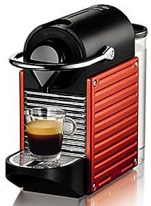 Nespresso Pixie Red XN3006 Krups  - Cafetera monodosis (19 bares, apagado automático, sistema calentamiento rápido), rojo - naranja