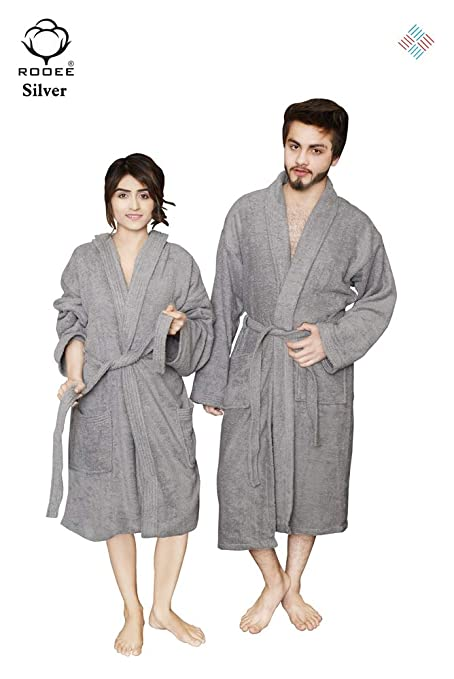 QAISIRIA Egyptian Cotton Bath Robes For Men and Women Unisex Terry  Towelling Cotton Dressing Gown Nightwear b420917a6
