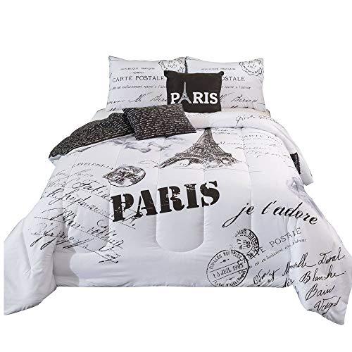 MWShop Worded Comforter Set 5-Piece,100% Microfiber Beautiful Black & White Paris Themed Design, Full (Glass Chess Deluxe Set)
