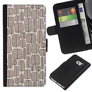 KingStore / Leather Etui en cuir / Samsung Galaxy S6 EDGE / Patrón del árbol de la vendimia del papel pintado de Brown