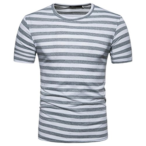shirt Stripe Homme Clearance T Rond Top Blouse Basic Col Gris Deelin Summer Casual HdqW4T4