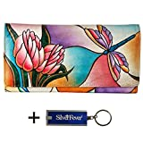 Anna by Anuschka Ladies Wallet & Key Chain (Multi Pocket Dragonfly Glass Painting)