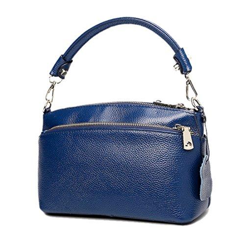 Handbag Genuine Small Phone Blue Small Shoulder Satchel Crossbody Clutch Purse Bag Leather Wallet Artwell Women Ladies 5wxUvv