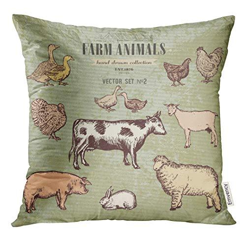 (VANMI Throw Pillow Cover Retro Farm Animals Vintage Collection Cow Pig Goat Sheep Chicken Duck Goose Turkey Rabbit Woodcut Decorative Pillow Case Home Decor Square 18x18 Inches Pillowcase)
