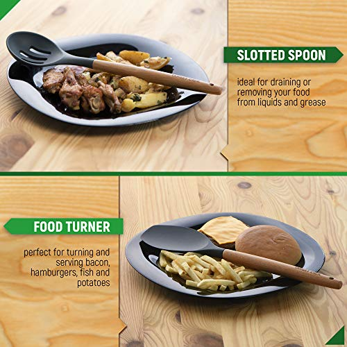 Kitchen Utensil Set - Silicone Cooking Utensils - Kitchen Accessories - Housewarming Gifts - Cooking Tools - Wooden Handle Cooking Spoons by TargetCook (Image #7)