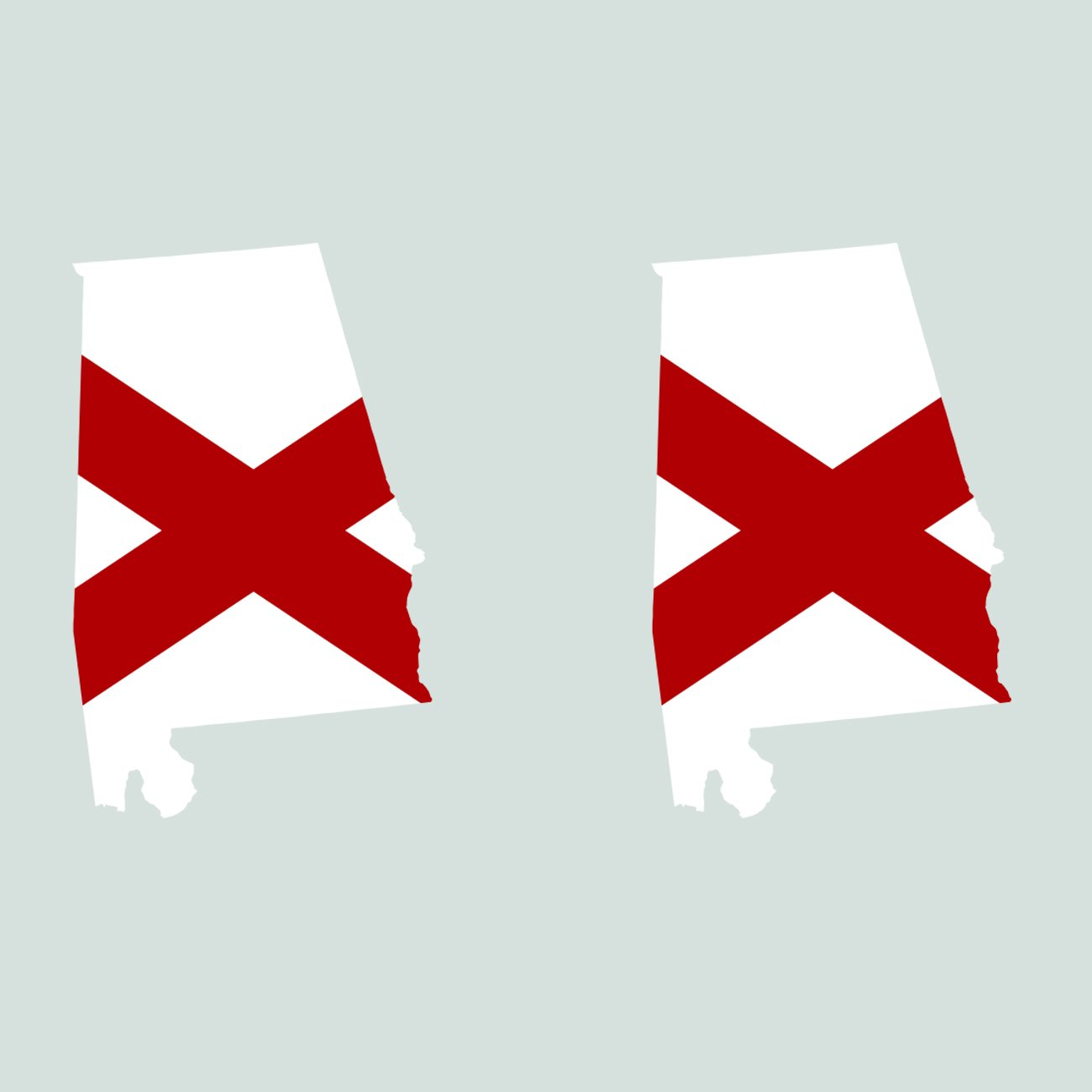 Two Pack Alabama State Shaped Flag Sticker Self Adhesive Vinyl Decal AL