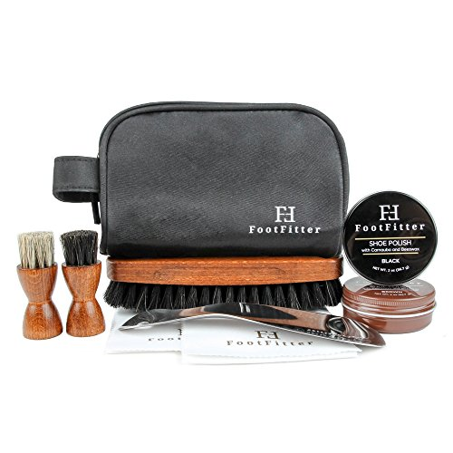 FootFitter Executive Travel Shoe Shine Kit - Shine Brush, Dauber Brushes, Shoe Polishes, Shine Cloths, Shoe Horn, Travel Bag! from FootFitter
