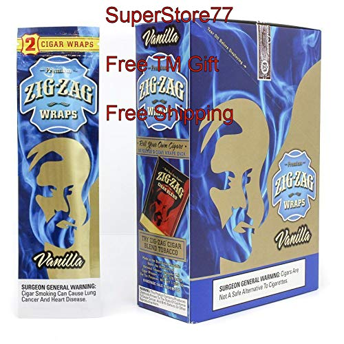 (SuperStore77 Zig Zag Paper 2 Boxes Vanilla 50 Pouches of 2 Paper Total of 100 Wraps Free SuperStore77 Gift Grinder)