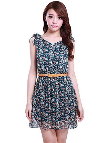 Lady Dark Allegra K Lined Prints Floral Bowknot Self Tie Waist Blue Dress Elastic Shoulder 55RAr1n