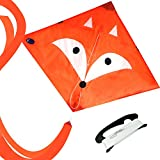 EMMAKITES Diamond Kite Mr. Fox/Little Star 80cm Single Line with Double Tails and Kite String - Easy to Fly - Kite for Kids and Adults