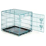 Teal Color Dog Crate Lightweight Folding Wire Latching Training Transport Cage