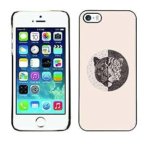 Be Good Phone Accessory // Dura Cáscara cubierta Protectora Caso Carcasa Funda de Protección para Apple Iphone 5 / 5S // tiger symbolism beige sketch pencil