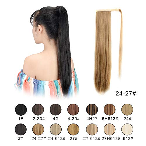 (BARSDAR 26 inch Ponytail Extension Long Straight Wrap Around Clip in Synthetic Fiber Hair for Women (24/27# Light Blonde mix Strawberry Blonde Evenly))