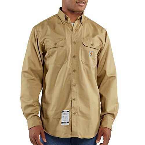 Carhartt Men's FRS160 Flame-Resistant Long Sleeve Twill Pocket Shirt - XXX-Large - Khaki