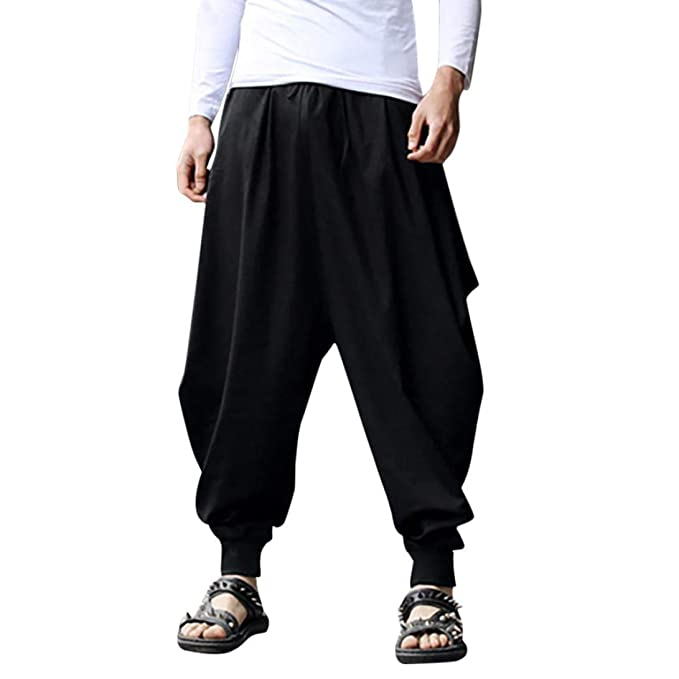 46aa47bf73a vermers Men s Plus Size Wide Leg Harem Pants - Mens Casual Cotton Linen  Festival Baggy Solid Trousers Retro Gypsy Pants