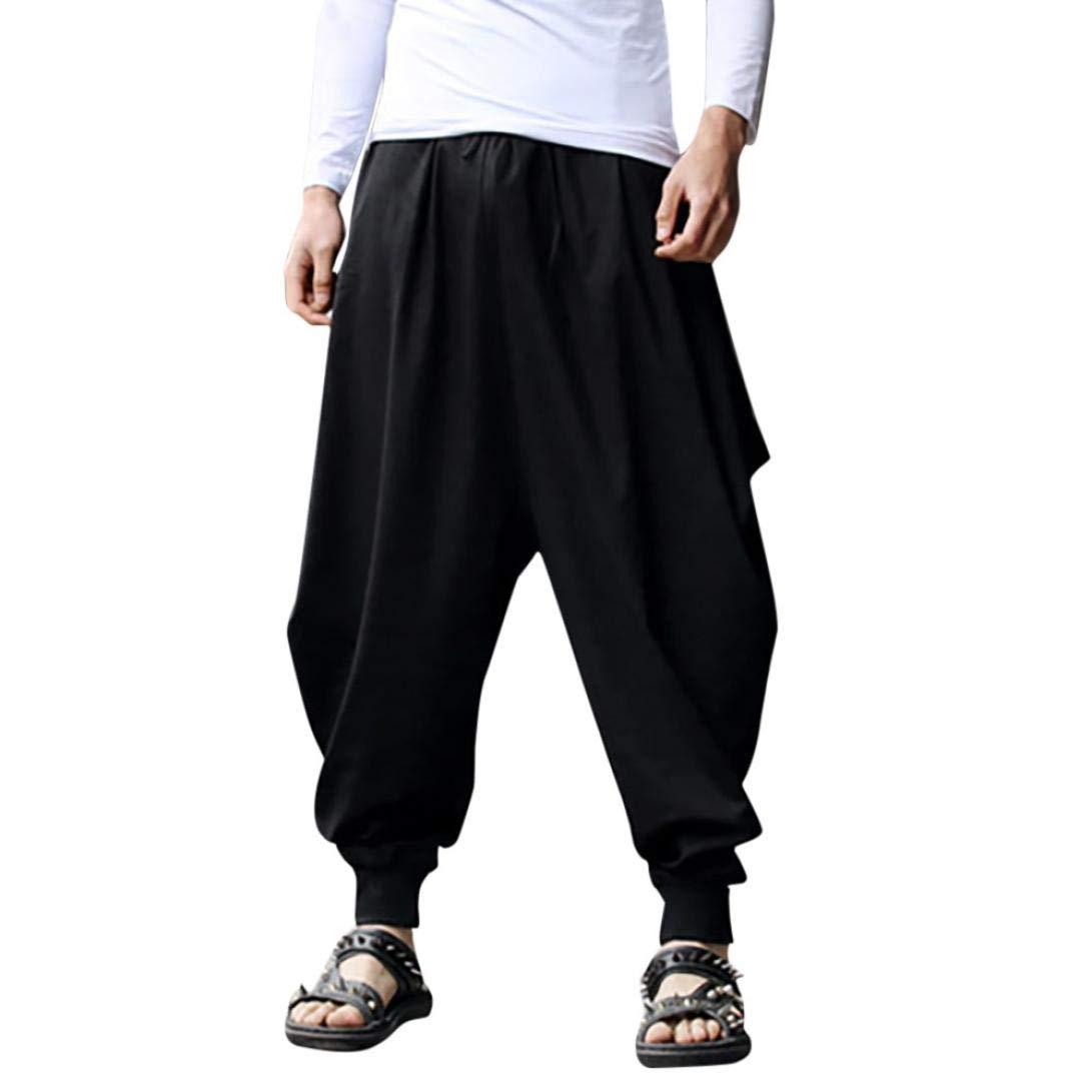 vermers Men's Plus Size Wide Leg Harem Pants - Mens Casual Cotton Linen Festival Baggy Solid Trousers Retro Gypsy Pants(3XL, Black)
