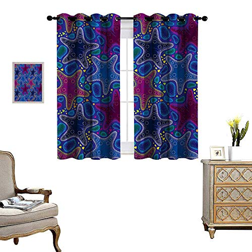Psychedelic Waterproof Window Curtain Dotted Starfish and Pebbles Maritime Theme Aquatic Animal Pattern Print Blackout Draperies for Bedroom W72 x L72 Turquoise Pink ()