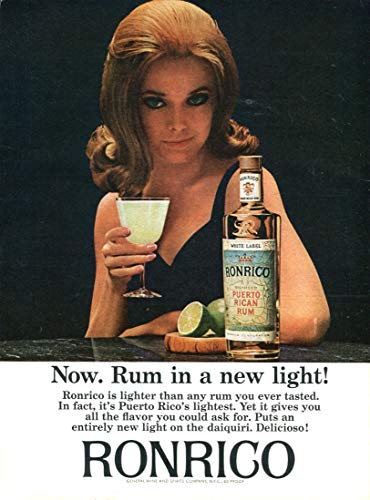 (WholesaleSarong 1965 Ronrico Rum Newsweek Liquor ad Retro Poster Home Accent Wall Office Restaurant Wall Decor)