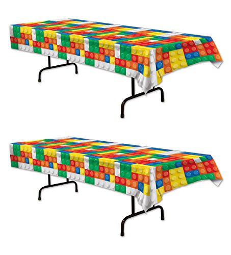 Beistle 54947 2 Piece Building Blocks Table Covers, 54
