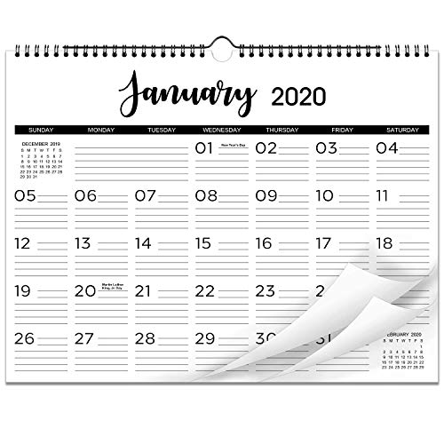 """2020 Calendar - 12 Monthly Wall Calendar with Thick Paper, 15"""" x 11-1/2"""", Twin-Wire Binding with Hanging Hook + Ruled Daily Space with Marked Holidays, January - December 2020 - Black and White"""