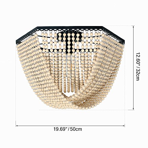 Unitary Brand Antique Black Metal and Wood Beads Decoration Hexagon Flush Mount Ceiling Light with 1 E26 Bulb Socket 60W Painted Finish by Unitary (Image #1)