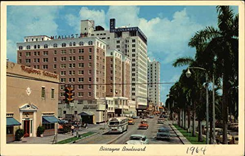 Beautiful Biscayne Boulevard looking North towards famous Hotel Row Original Vintage Postcard]()