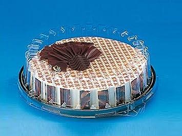 10 pcs desechables de plástico transparente caja redonda Dome Base de color negro tarta (31dxn30 + 04E: Amazon.es: Hogar