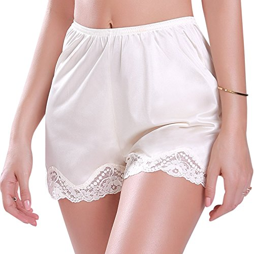 Lace Satin Bloomers - Americana Satin Bloomer Short Long Slip Lace Edge