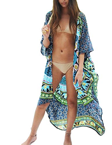 Bsubseach Women Half Sleeve Open Front Beachwear Navy Print Loose Swimwear Bikini Cover Up Kimono Cardigan