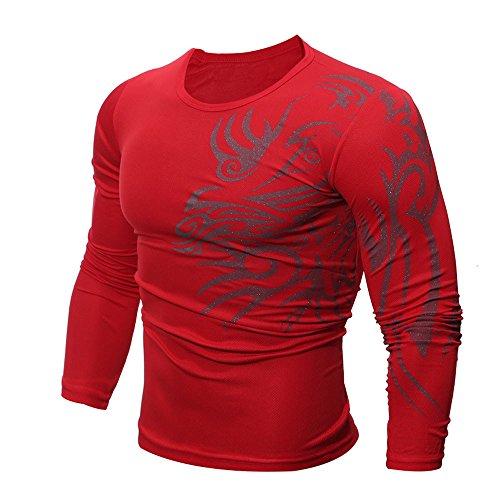 (AnewonesonCompression Cool Dry Sports Top Shirt Baselayer Running Leggings Yoga Rashguard Men Red)