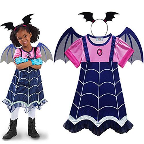 Mädchen Vampir Cosplay Kostüm Karneval Fasching Party COS Kleid Stirnband Flügel