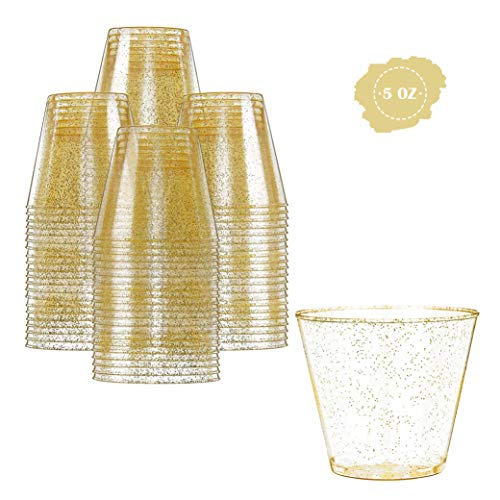 Glitter Disposable Cups | 5 oz. 100 Pack | Clear Plastic Cups | Gold Glitter Plastic Party Cups | Disposable Plastic Wine Glasses for Parties | Plastic Cocktail Glasses | Wedding Holiday Tumblers -