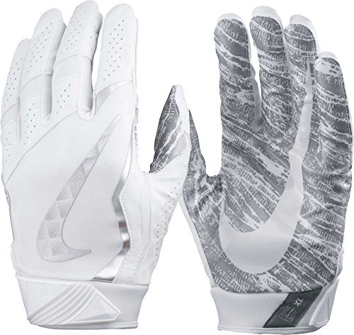 Gray Football Receiver Glove - Nike Adult Vapor Jet 4.0 2017 Receiver Gloves, (White/Metallic Silver, S)